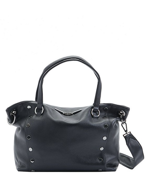 Color:Black/Gunmetal - Image 1 - Daniel Rivet Large Grey Leather Satchel Bag