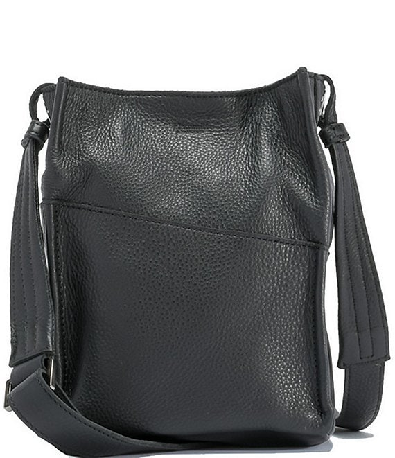 Color:Black/Gunmetal - Image 1 - Davis Pebble Leather Small Bucket Bag