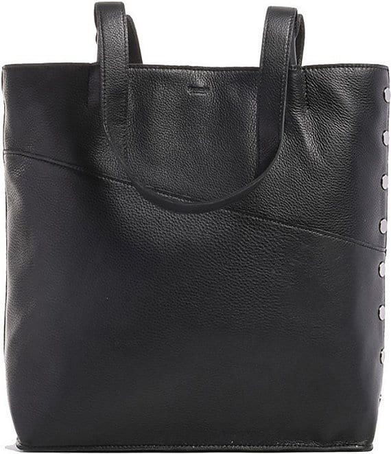 Color:Black/Gunmetal - Image 1 - Drew Large Leather Tote Bag