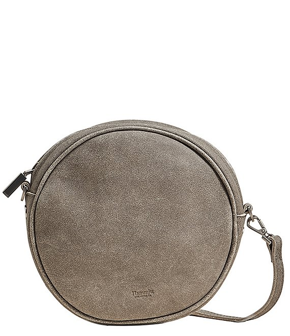 Color:Pewter/Brushed Silver - Image 1 - Greg Small Circular Leather Crossbody Bag