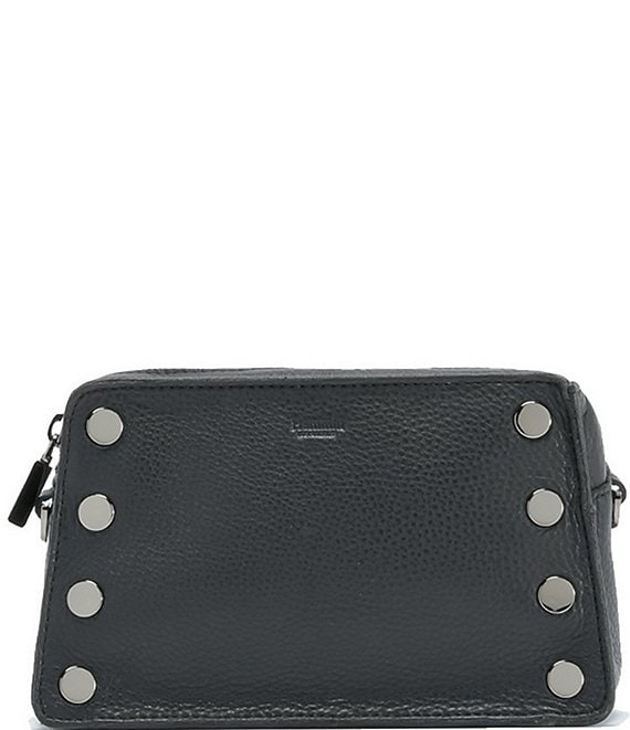 Color:Black/Gunmetal - Image 1 - Madison Snake East West Camera Leather Crossbody Bag