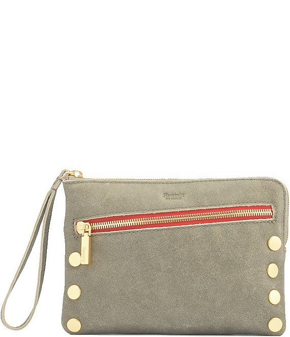 Color:Pewter/Brushed Gold/Red Zipper - Image 1 - Nash Small Convertible Red Zipper Leather Crossbody Bag