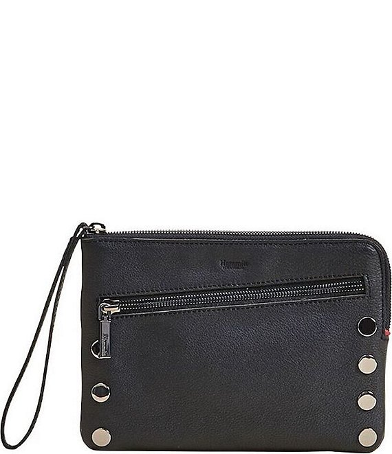 Color:Black/Gunmetal - Image 1 - Nash Small Convertible Studded Smooth Leather Top Zip Crossbody Bag