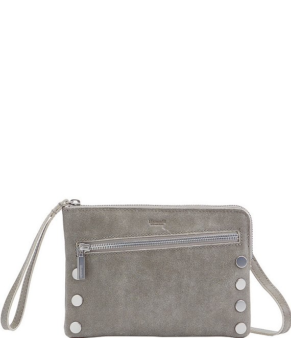 Color:Pewter/Brushed Silver - Image 1 - Nash Small Convertible Studded Suede Top Zip Crossbody Bag