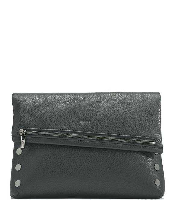 Color:Black/Gunmetal - Image 1 - VIP Fold Over Large Studded Leather Zip Flap Crossbody Bag
