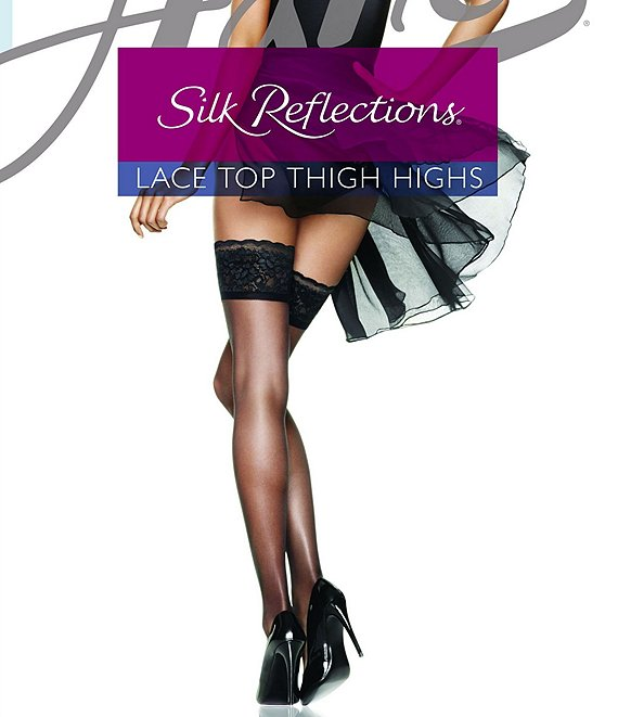 Color:Barely Black - Image 1 - Silk Reflections Lace Top Thigh Highs