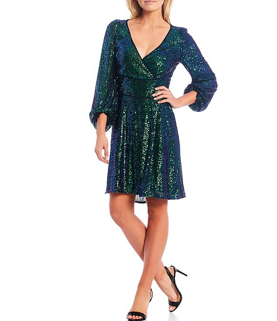 Color:Green - Image 1 - Long Sleeve Stretch Sequin Fit & Flare Dress