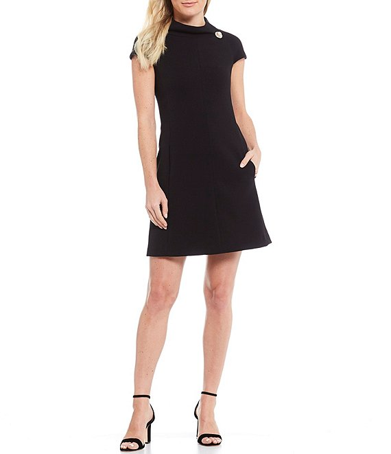 Color:Black - Image 1 - Stand Collar Pearl Button Detail A-Line Crepe Dress