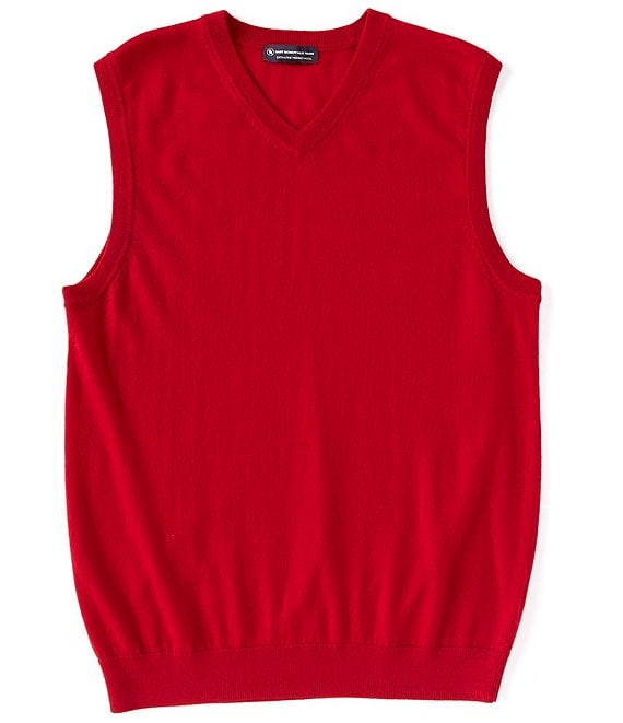 Color:Red - Image 1 - Big & Tall Merino Wool V-Neck Sweater Vest