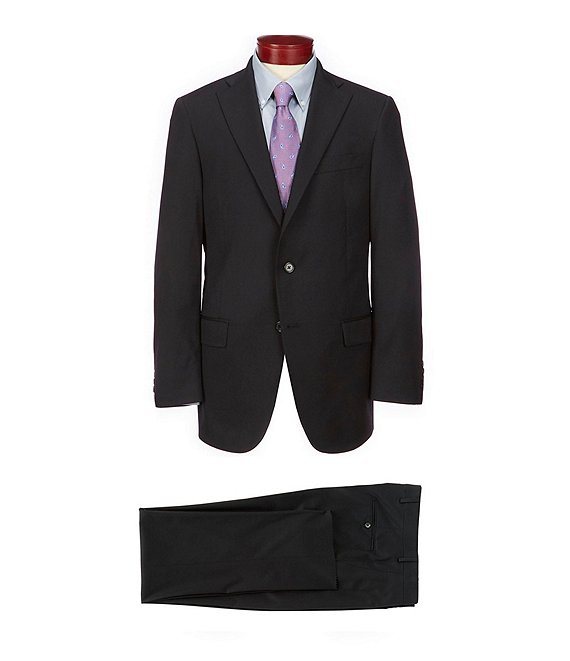 Color:Black - Image 1 - Chicago Classic Fit Solid Wool Blend Suit