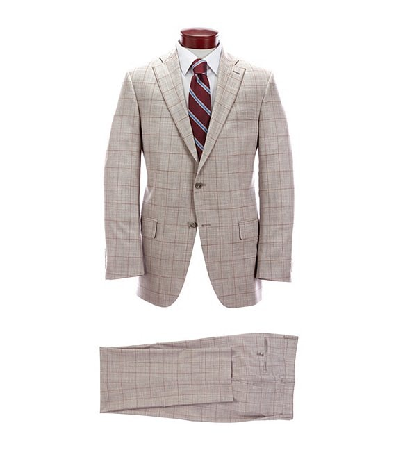 Hart Schaffner Marx Classic Fit Light Grey Windowpane Pleated Wool Blend Suit
