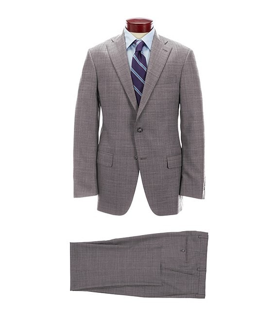 Hart Schaffner Marx Classic Fit Grey Fine Plaid Wool Blend Suit