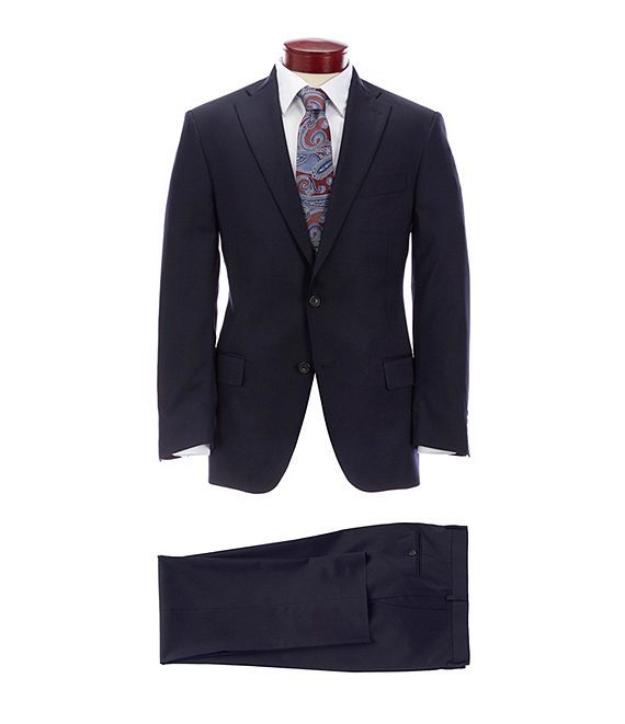 Hart Schaffner Marx Classic Fit Solid Navy Wool Blend Suit ...