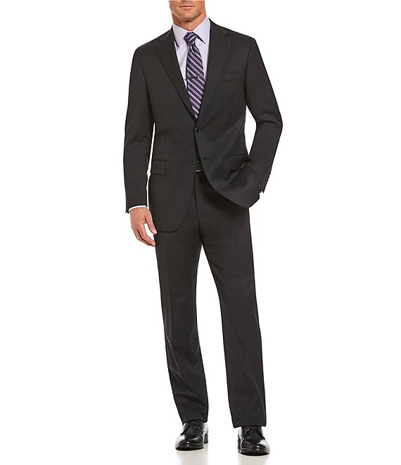 Color:Black - Image 1 - Classic Fit Solid Wool Suit