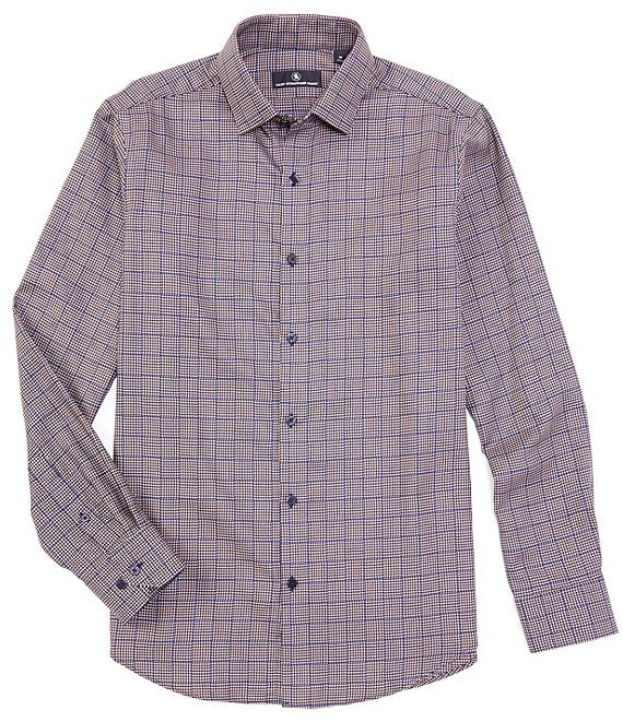 Hart Schaffner Marx Long-Sleeve Checked Houndstooth Sportshirt