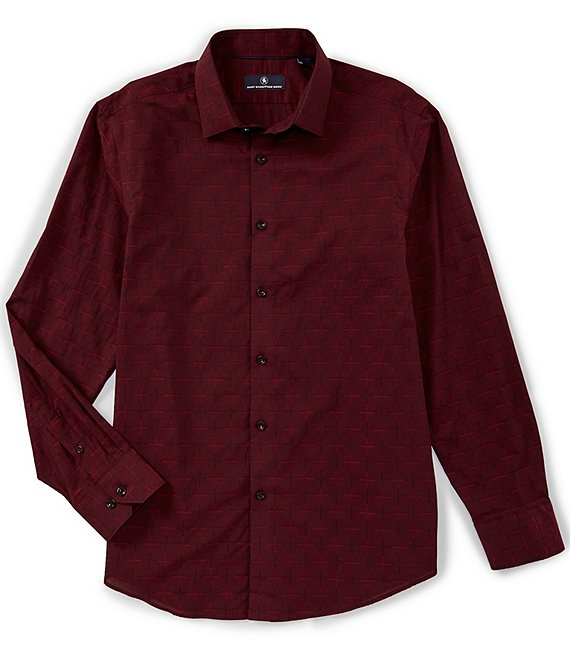 Hart Schaffner Marx Long-Sleeve Windowpane Dobby Spread Collar Sportshirt