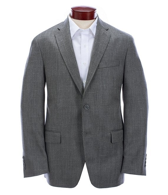 Color:Grey - Image 1 - Modern Fit Solid Grey Wool Blend Sportcoat