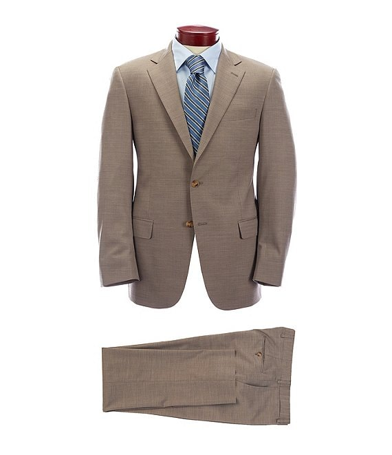 Hart Schaffner Marx Modern Fit Solid Tan Wool Blend Suit