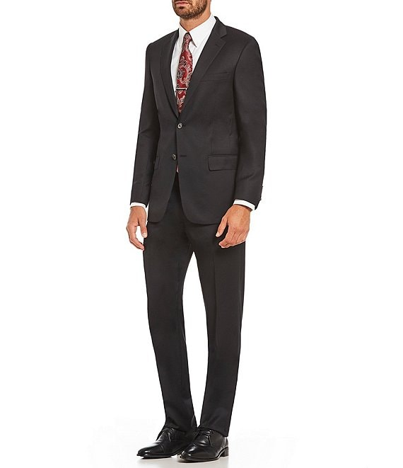Color:Black - Image 1 - Modern Fit Solid Wool Suit