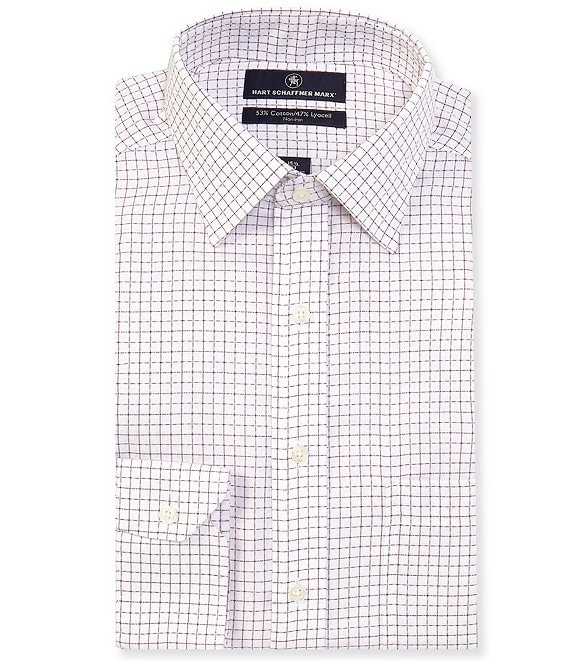 Hart Schaffner Marx Non-Iron Classic Fit Spread Collar Graphic Dress Shirt