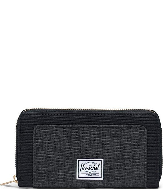 Color:Black Crosshatch/Black - Image 1 - Thomas Zip Around Wallet