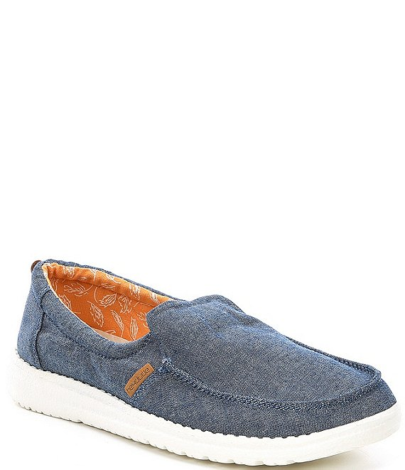 Color:Navy - Image 1 - Women's Misty Chambray Washable Slip-Ons