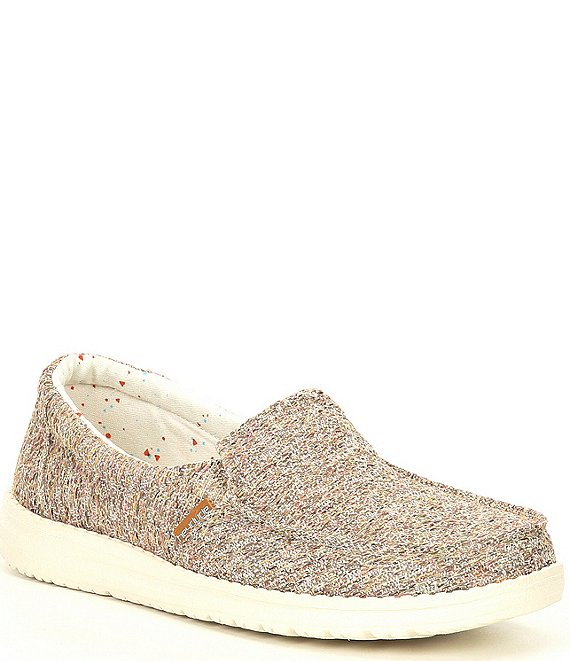 Color:Peach - Image 1 - Women's Misty Tweed Washable Slip-Ons
