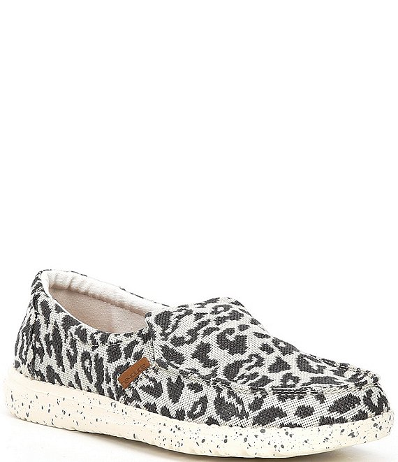 Color:Cheetah Grey - Image 1 - Women's Misty Woven Cheetah Print Washable Slip-Ons