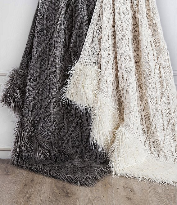HiEnd Accents Cable Knit with Mongolian Fur Throw