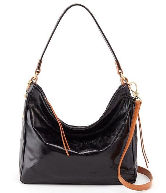 Color:Black - Image 1 - Delilah Shiny Leather Hobo Bag