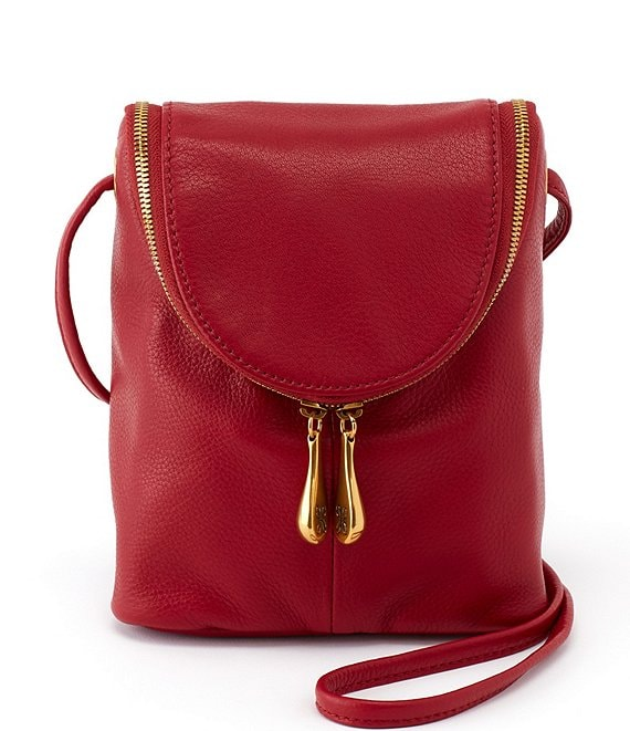 Color:Scarlet - Image 1 - Fern Zipper Flap Mini Top Grain Leather Crossbody Bag