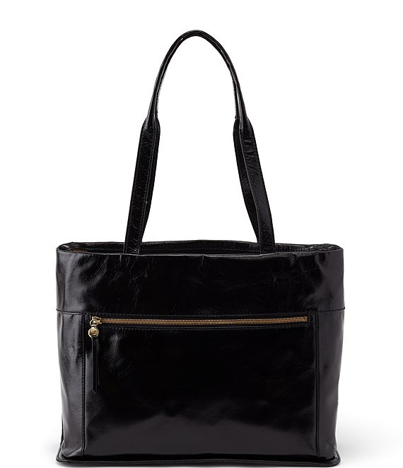 Color:Black - Image 1 - Fresco Leather Top Zip Tote Bag