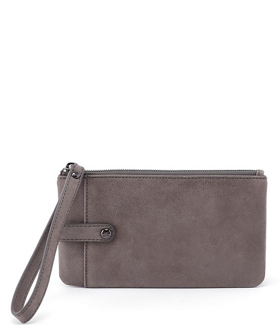 Color:Titanium - Image 1 - King Leather Zippered Wristlet