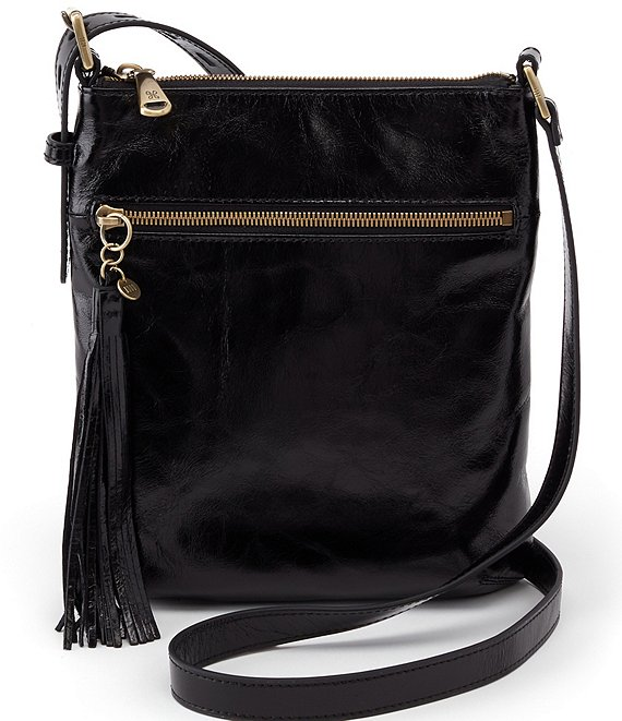 Color:Black - Image 1 - Sarah Leather Top Zip Crossbody Bag