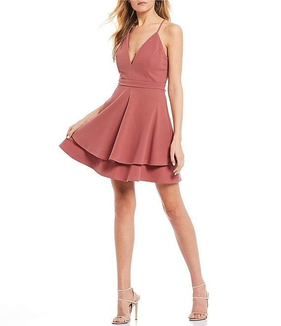 Color:Guava - Image 1 - Lace Back Double Hem Fit-and-Flare Dress
