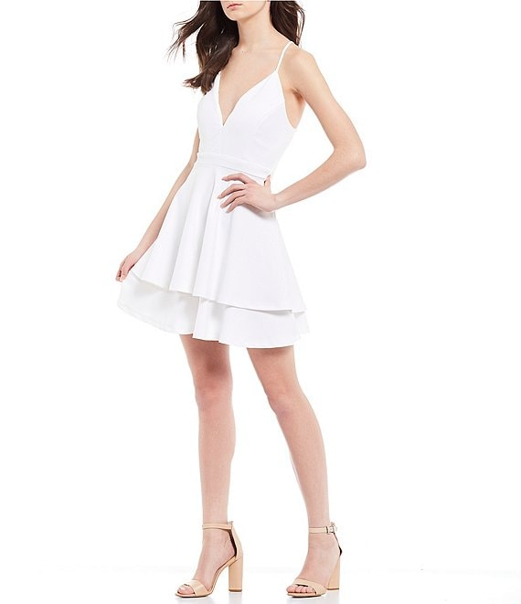 Color:Ivory - Image 1 - Lace Back Double Hem Fit-and-Flare Dress