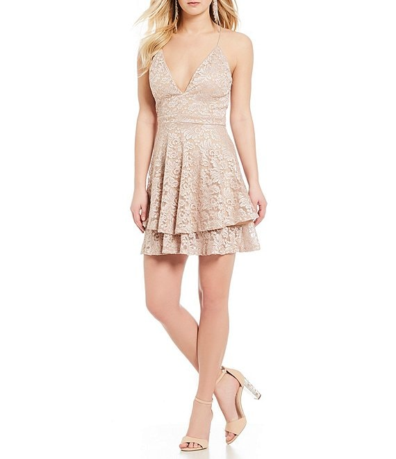 Honey and Rosie Lace Double-Layer-Hem Fit-And-Flare Dress