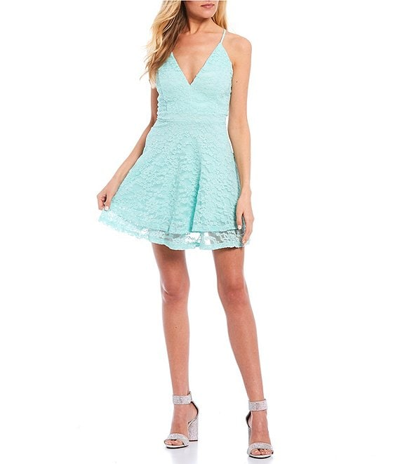 Color:Mint - Image 1 - Spaghetti Strap Bra-Back Lace Double Hem Fit-and-Flare Dress
