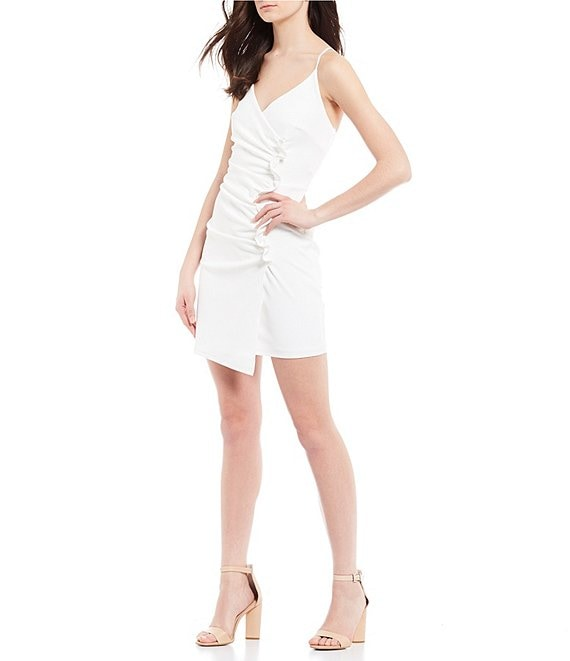 Color:Ivory - Image 1 - Spaghetti Strap Ruched Side Sheath Dress