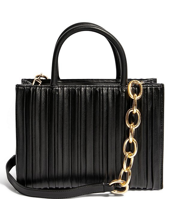 Color:Black Pleated - Image 1 - We Gram Small Pleated Chain Strap Tote Bag