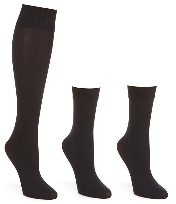 Color:Black - Image 1 - Assorted Knee Hi 4 Pack Socks