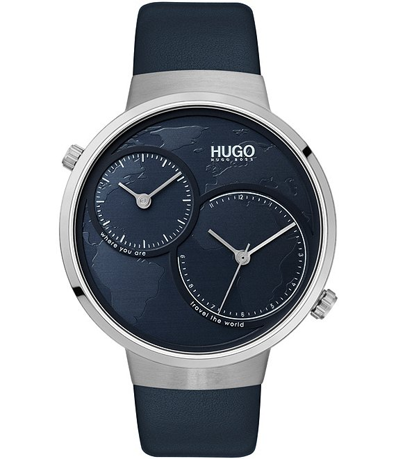 Color:Silver - Image 1 - #Travel Blue Leather Watch