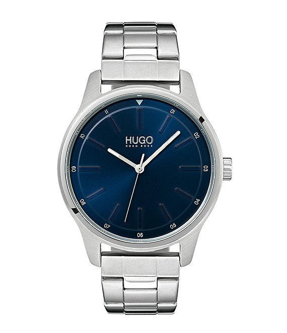 Color:Silver - Image 1 - HUGO HUGO BOSS #Dare Stainless Steel Blue Dial Bracelet Watch