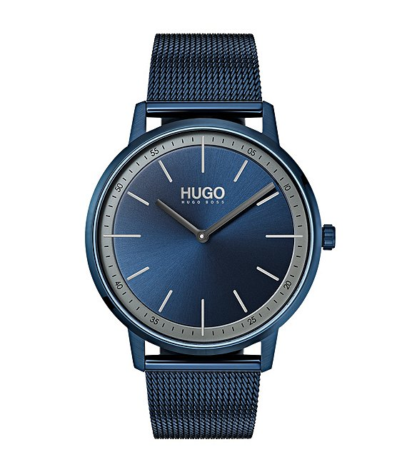 Color:Blue - Image 1 - HUGO HUGO BOSS #Exist Blue Mesh Bracelet 2-Hand Watch