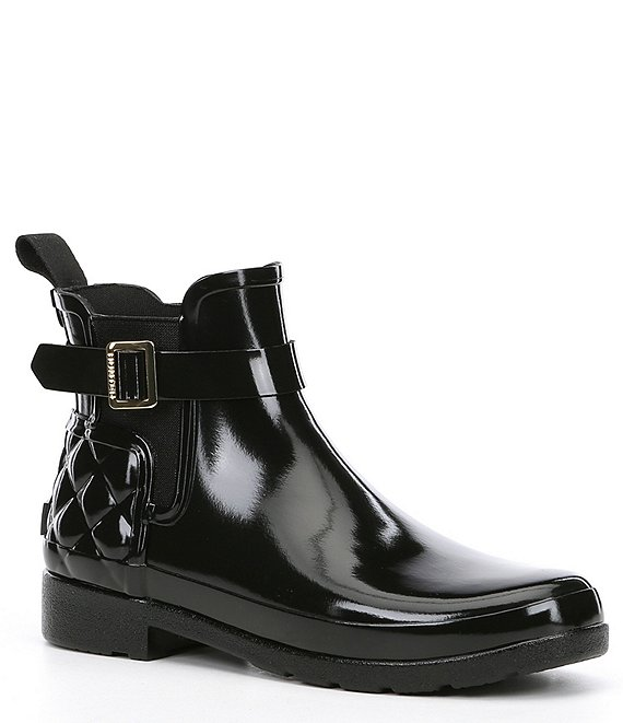 Color:Black - Image 1 - Refined Slim-Fit Quilted Gloss Chelsea Rain Boots