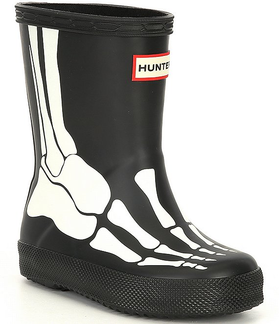 Color:Black - Image 1 - Kids' First Classic Skeleton Print Waterproof Rainboots (Toddler)