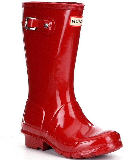Color:Military Red - Image 1 - Kids' Original Gloss Waterproof Buckle Strap Rain Boots (Youth)