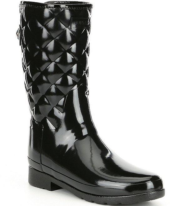 3edd417d7164 Hunter Refined Gloss Quilt Short Waterproof Boots