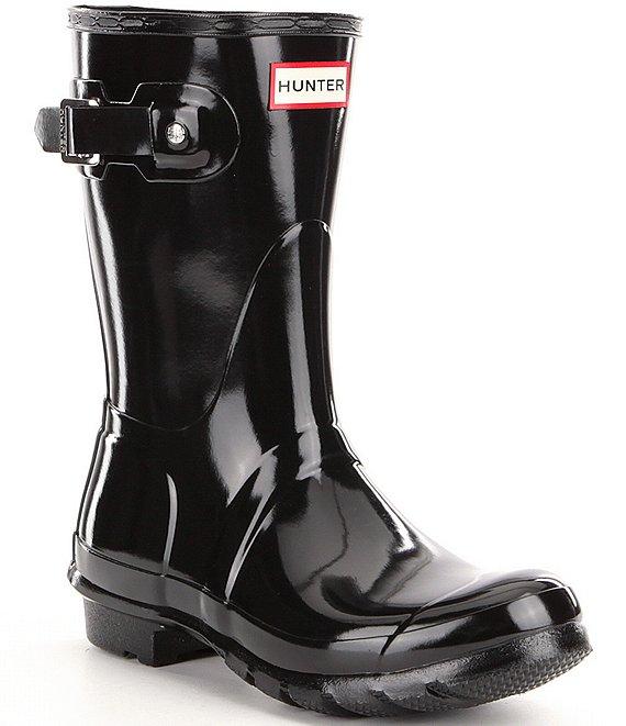 ea2d2ace12c9 Hunter Women s Original Short Gloss Buckle Strap Rain Boots