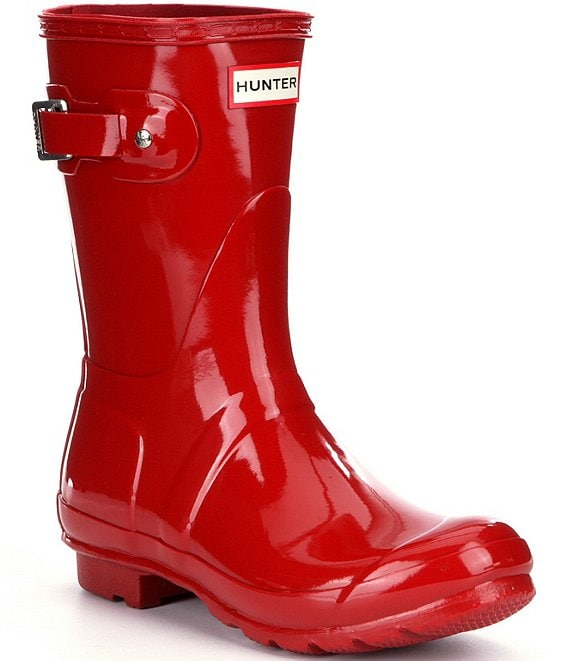 Color:Military Red - Image 1 - Women's Original Short Gloss Buckle Strap Rain Boots